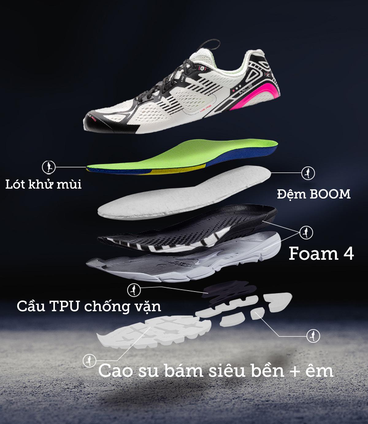 Giày Chạy bộ Nam - BMAI Mile 42K Pro là sự lựa chọn hoàn hảo cho tất cả mọi người, kể cả những người mới bắt đầu tập chạy ở cự ly ngắn,
